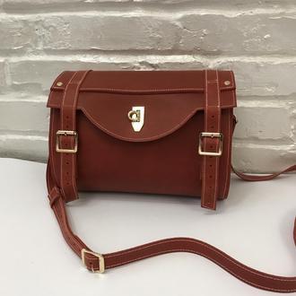Кожаная женская сумочка. Женская сумка через плечо.