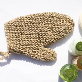 Мочалка рукавичка варежка массажная натуральная из джута 24х11