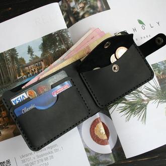 """Чоловічий гаманець від écorce """"classic coin black"""", шкіра crazy horse"""