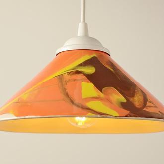 Подвесной светильник, маленькая оранжевая люстра.