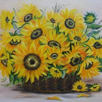 Картина маслом квіти Соняшники