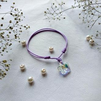 Лиловый браслет с кристаллом