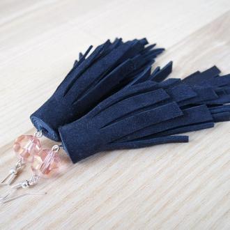 Роскошные кожаные серьги кисти Длинные темно-синие серьги Серьги с подвеской Подарок для любимой