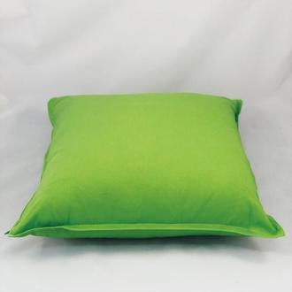 Диванная подушка. Однотонная, цветная, зеленая подушка. Подушка с замком.