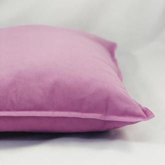 Диванная подушка. Однотонная цветная. Сиреневая подушка. Подушка с замком.