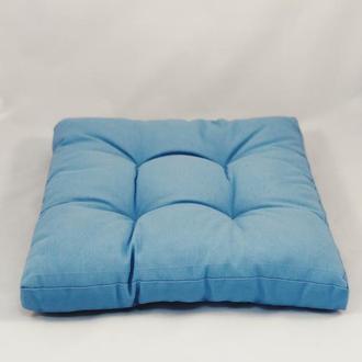 Подушка на стул. Квадратная подушка. Мягкое сиденье. Однотонная цветная, синяя подушка.