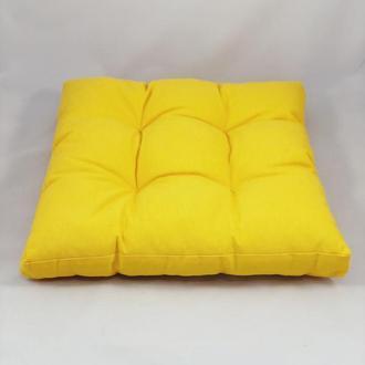 Подушка на стул. Квадратная подушка. Мягкое сиденье. Однотонная цветная. Жёлтая подушка.