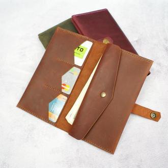 Женский кожаный кошелек - Женское портмоне из натуральной кожи - Стильное портмоне цвета коньяк