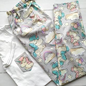 Женская пижама со штанами в единороги