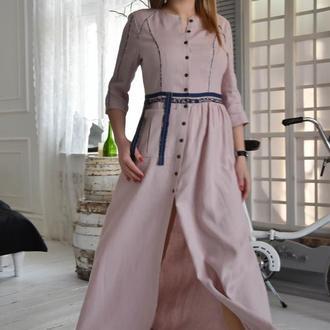 Ніжно-рожева сукня з льону