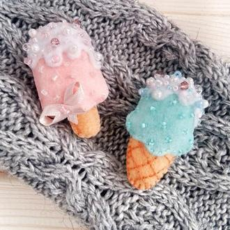 Брошь мороженое на палочке