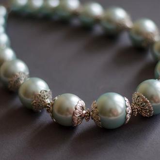 Ожерелье из искусственных акриловых жемчуга