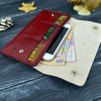 Кожаный кошелек натуральной кожи  21х10.5см. Портмоне женский мужской