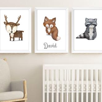 Постеры в детскую Woodland Animals