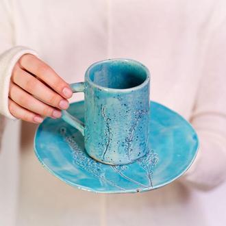 Набор посуды (тарелка+чашка) Flora blue