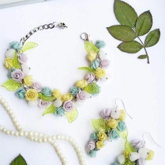 Комплект, браслет, серьги с цветами из полимерной глины с розовым кварцем, цветочный