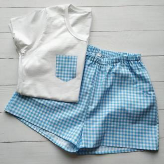 Женская пижама с шортами в клетку