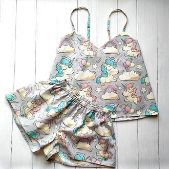 Женская пижама в милые единороги