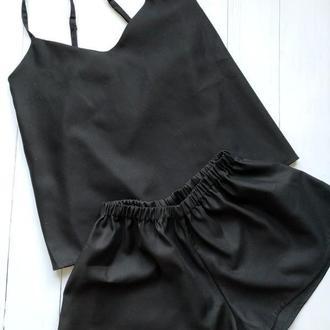 Черная женская пижама 100% хлопок