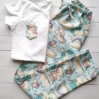 Пижама женская со штанами в единороги