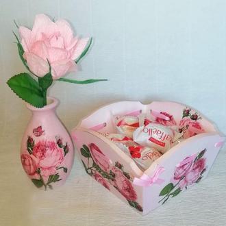 Подарочный набор , конфетница и ваза