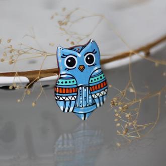 Брошь сова из дерева с  росписью.Подарок девушке.Яркое украшение.Подарок детям