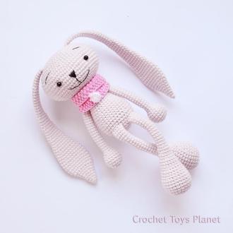Іграшка рожевий зайчик / В'язання пов'язана іграшка зайчик / В'язаний зайчик