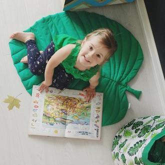 Коврик - листик для детской комнаты в зелёном цвете Green