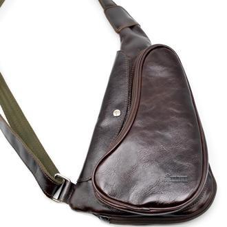 Коричнево-бордовый рюкзак из натуральной кожи на одно плечо GX-3026-4lx бренд TARWA
