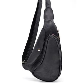 Компактный кожаный рюкзак на одно плечо RA-3026-3md TARWA (черная лошадиная кожа)