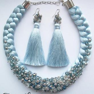 Холодно-голубой шёлковый комплект с хрустальными бусинами