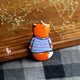 Брошь лисичка из дерева.роспись