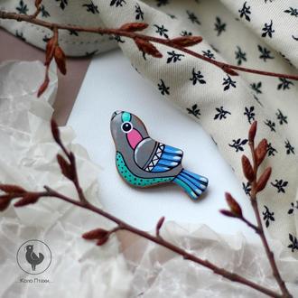 брошь птичка из дерева  роспись