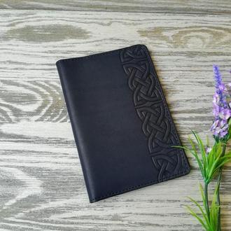 Портмоне - обложка для паспорта , тревел-кейс, travel синий кельтский узел