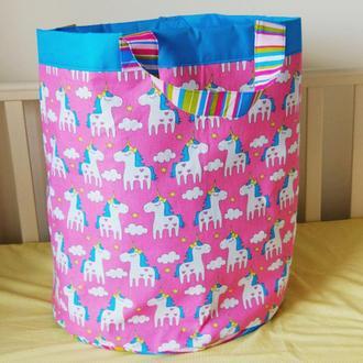 Тканевая корзинка для игрушек Unicorns