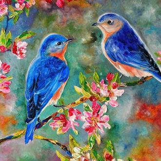 """Картина маслом """"Весенняя сказка"""", птицы в живописи, живопись мастихином, 60х60 см"""