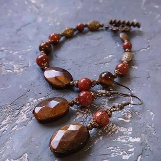 Комплект з натурального каменю тигряче око браслет та сережки