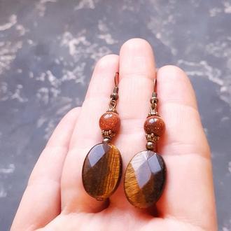 Серьги из натуральных камней тигриное око
