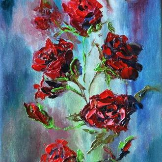 "Картина маслом, ""Алые розы"", живопись мастихином, 50х30 см, розы живопись"