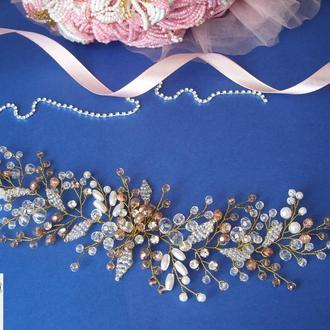 Свадебное украшение для волос, украшение в прическу,  аксессуары для волос, веточка в причёску