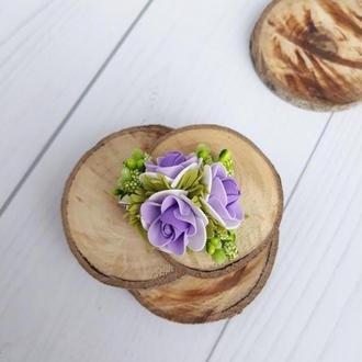 Детская мини заколка с цветами для девочек, сиреневый+салатовый