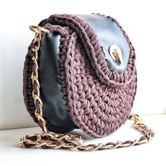 Кожаная женская сумка с вязанными крючком элементами, вязанная сумка, коричневая сумка, подарок