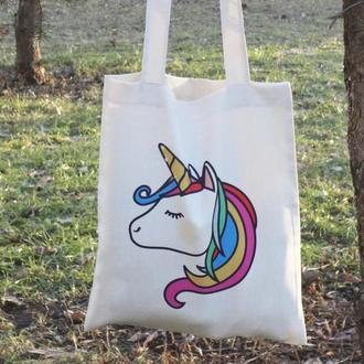 Экосумка единорог, листва, сумка-шоппер единорог, подарок девушке, подарок на 8 марта, екосумка