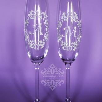 Свадебные бокалы инициалы
