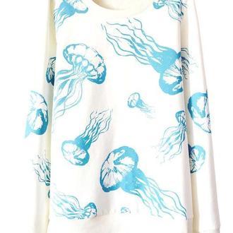 Белый свитшот с медузами (без начеса)