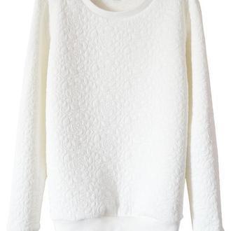 Белый текстурный свитшот (без начеса), размер L