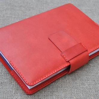 Красная обложка для блокнота из кожи B01-580