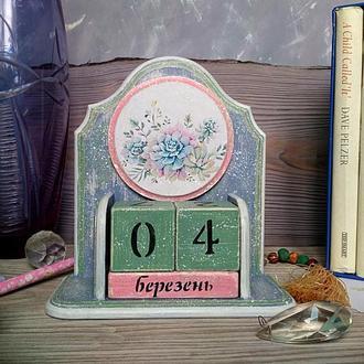 """Настольный вечный календарь """"Суккуленты"""""""
