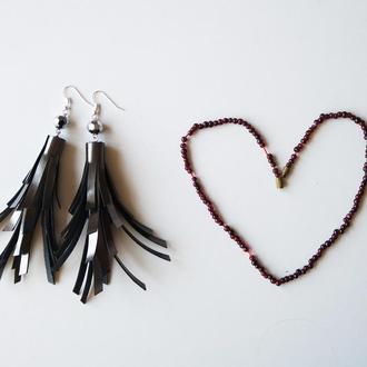 Роскошные кожаные серьги кисти Длинные серьги серый металлик Серьги с подвеской Подарок для любимой