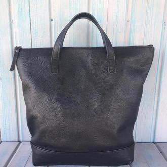 Жіночий чорний шкіряний рюкзак сумка